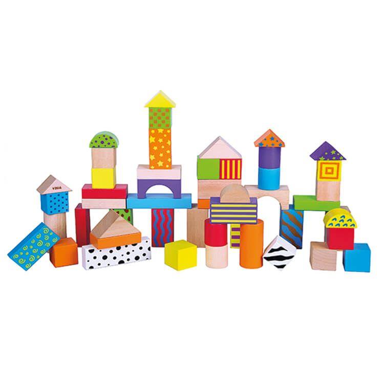 Építőkocka (50 db-os, színes-mintás)