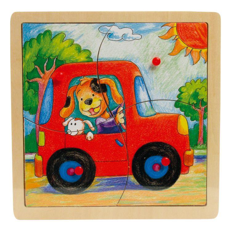 Fogantyús puzzle (4 db-os, autós)